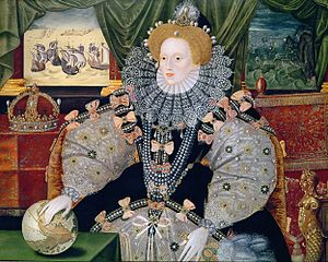 Portrait of Elizabeth commemorating  the defeat of the Spanish Armada. Her hand on the globe synbolizes international power.