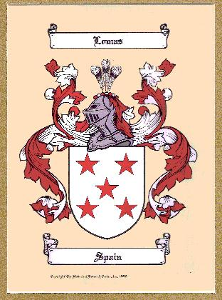 The Lomas Coat of Arms as registered in the Spanish records.